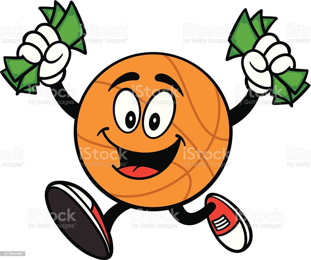 Cartoon Basketball Running with Money vector art illustration