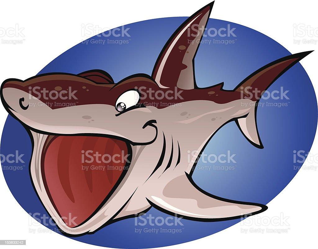Cartoon Basking Shark vector art illustration