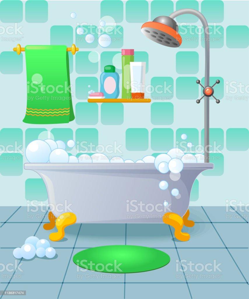 Dessin Salle De Bain intérieur de salle de bains de dessin animé en couleur bleue