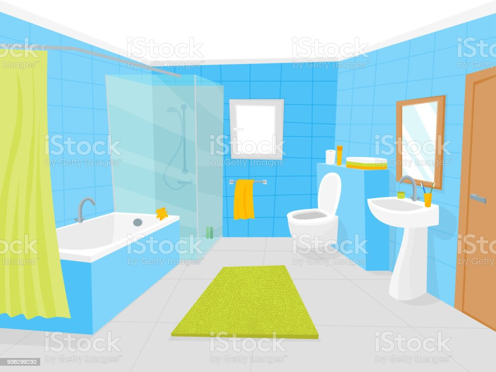 Cartoon Bathroom Interior with Furniture Card Poster