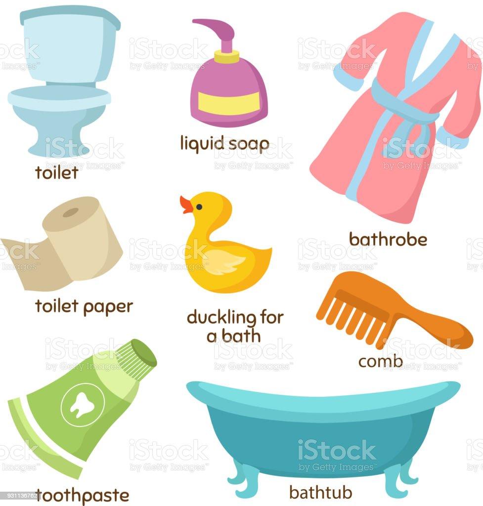 Cartoon Bathroom Vector Equipments Toilet Sink And Bathtub