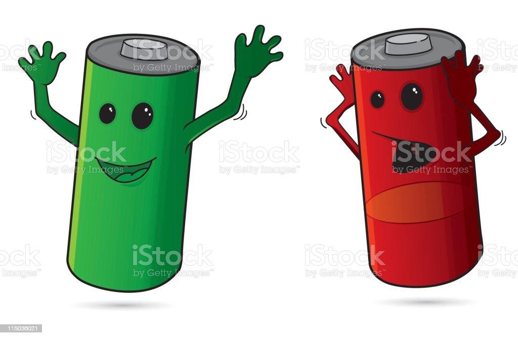 Cartoon batteries vector art illustration