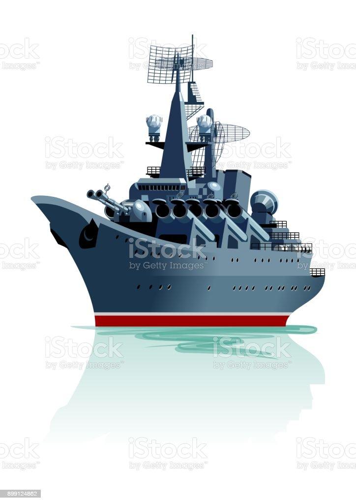 Cartoon battleship. vector art illustration