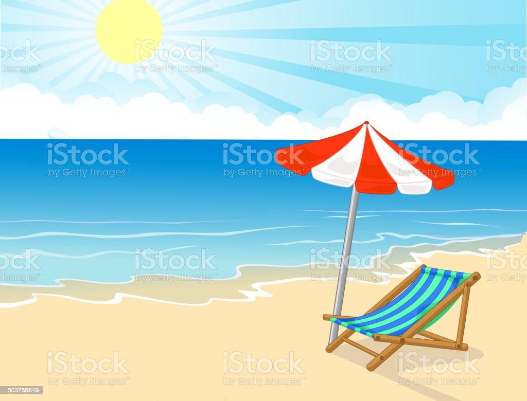 Sonnenschirm strand comic  Comic Liegestuhl Und Sonnenschirm Am Tropischen Strand Stock Vektor ...