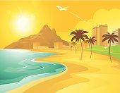istock Cartoon Beach in Brazil 96420246