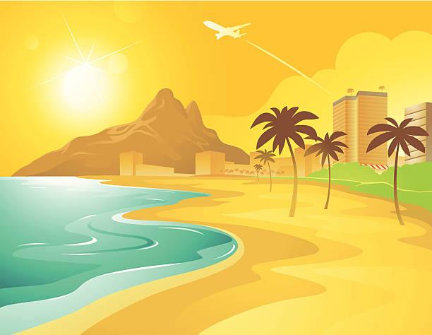 ilustraciones, imágenes clip art, dibujos animados e iconos de stock de playa de historieta en brasil - viaje a sudamérica
