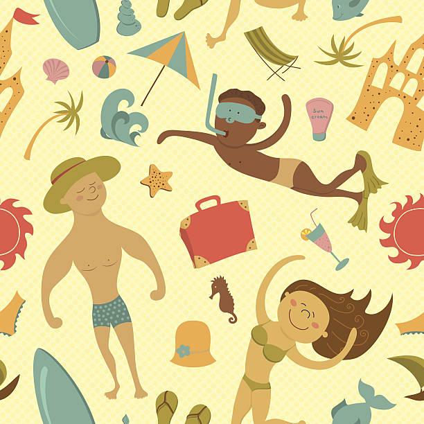 kreskówka, plaża bezszwowe wzór - ice cream stock illustrations
