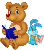Vector illustration of Cartoon bear and rabbit reading book