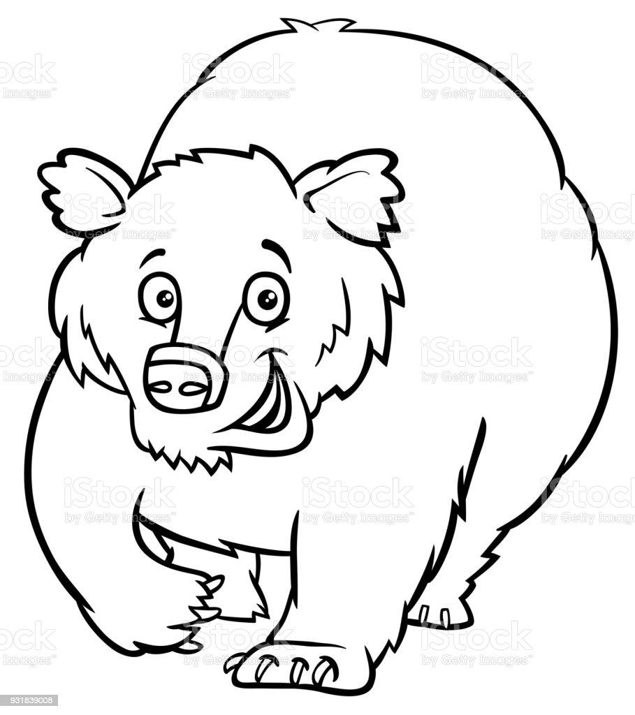 キャラクター塗り絵漫画くまの動物 お絵かきのベクターアート素材や