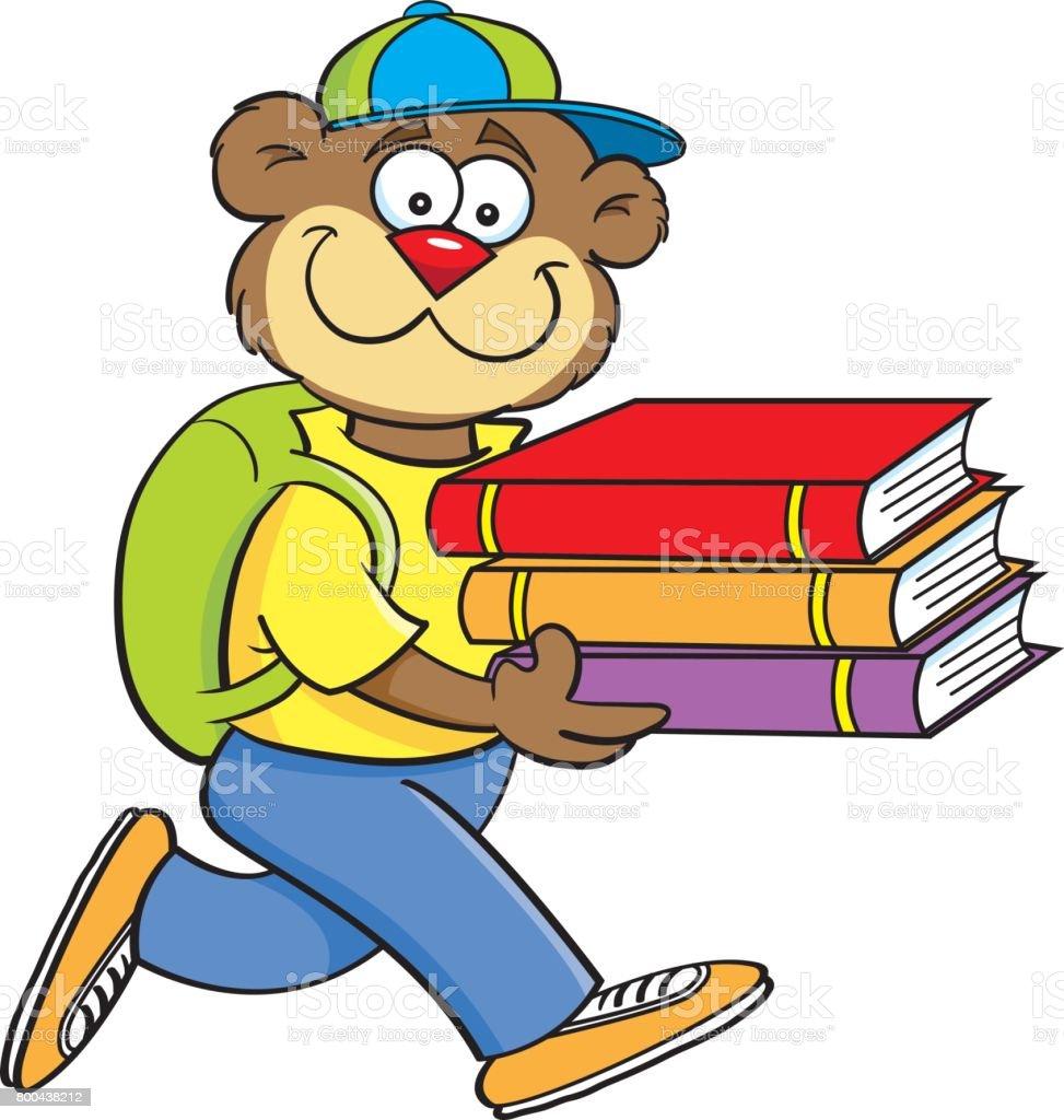 Cartoon bear carrying books.