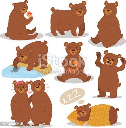 Cartoon bear character different pose vector set cute illustration