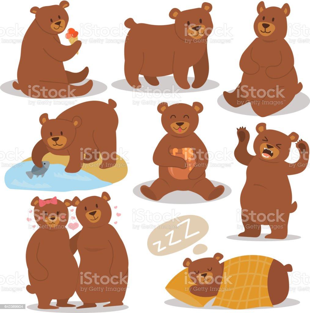 Cartoon bear character different pose vector set vector art illustration