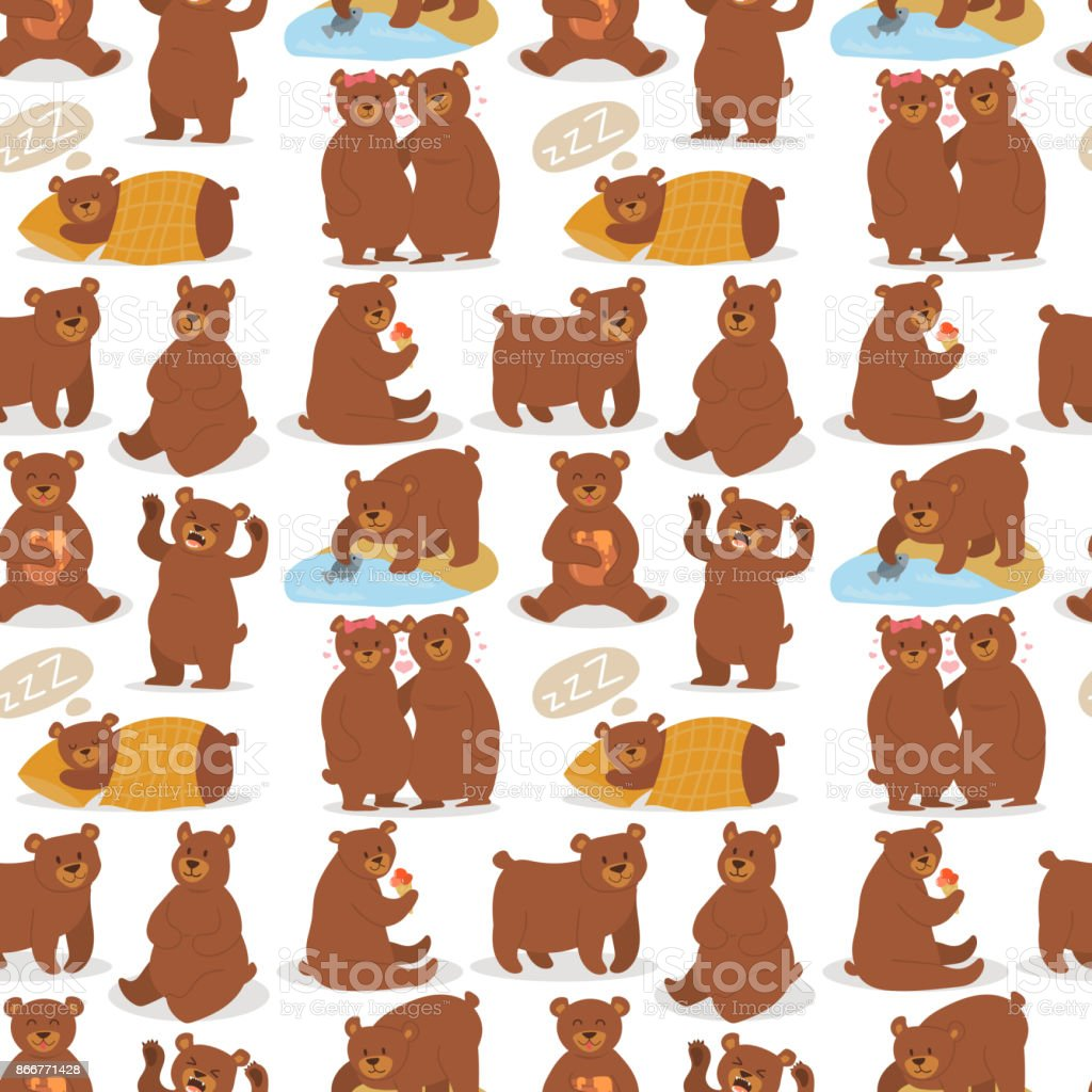 Cartoon bear character teddy pose vector seamless pattern background wild grizzly cute illustration adorable animal design vector art illustration