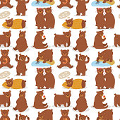 Cartoon bear character teddy pose vector seamless pattern background wild grizzly cute illustration adorable animal design