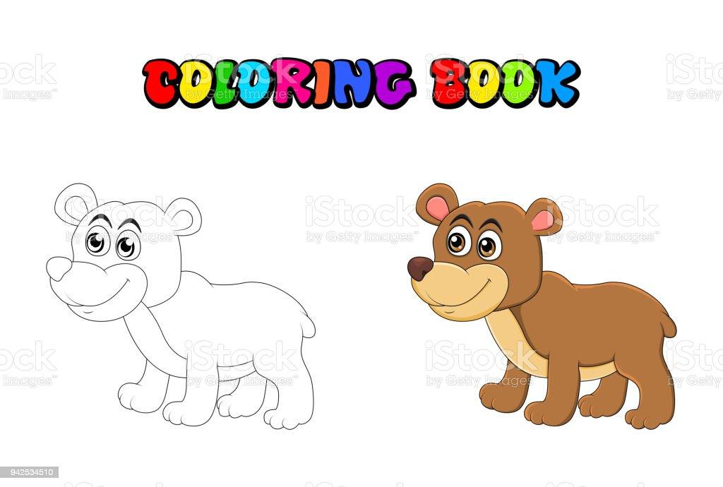 Ilustración de Oso De Dibujos Animados Para Colorear Libro Aislado ...