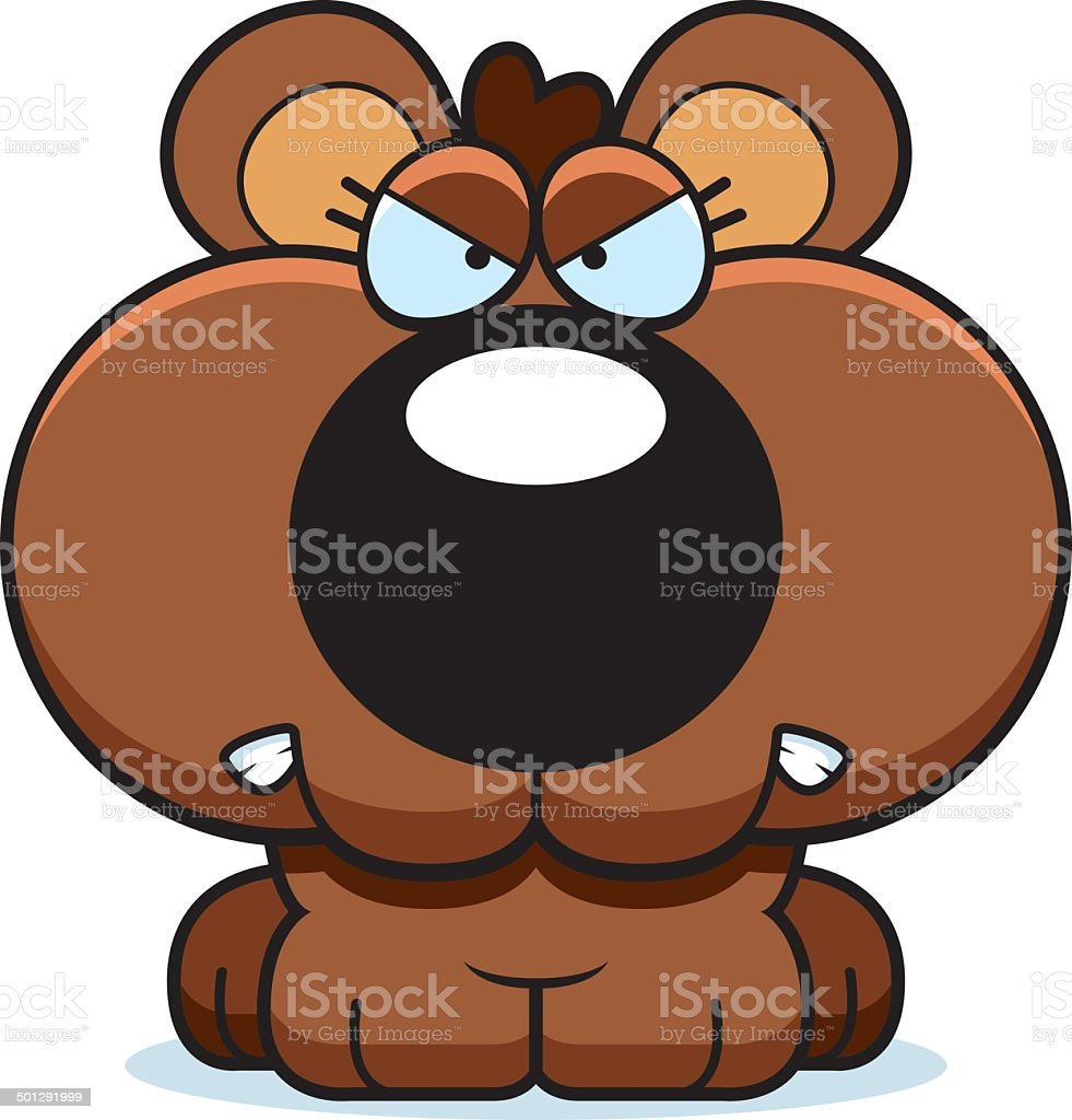 カットイラスト怒っている子熊 - しかめっ面のベクターアート素材や画像