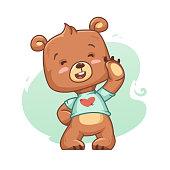 Cartoon Bear Cub Laughing