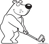 Cartoon Bear Golfing