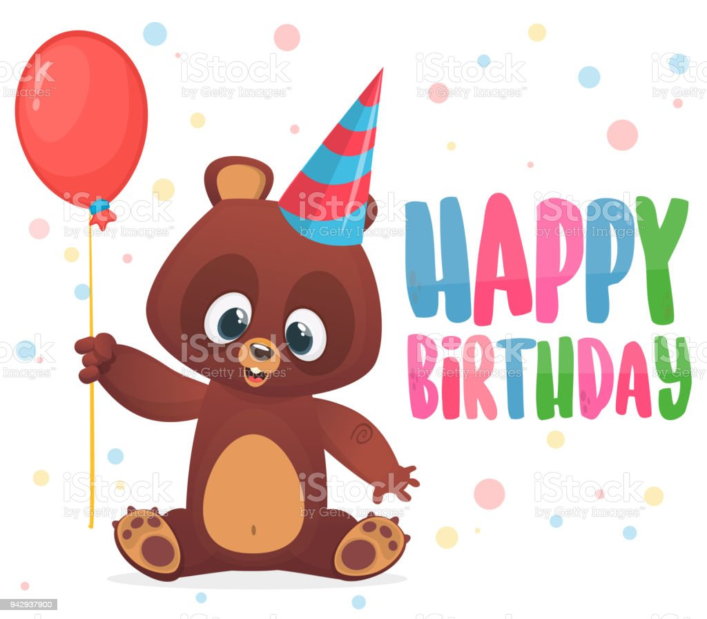 Cartoon Bear Holding A Red Balloon Happy Birthday Greetings Postcard With Typography Title Vector Illustration