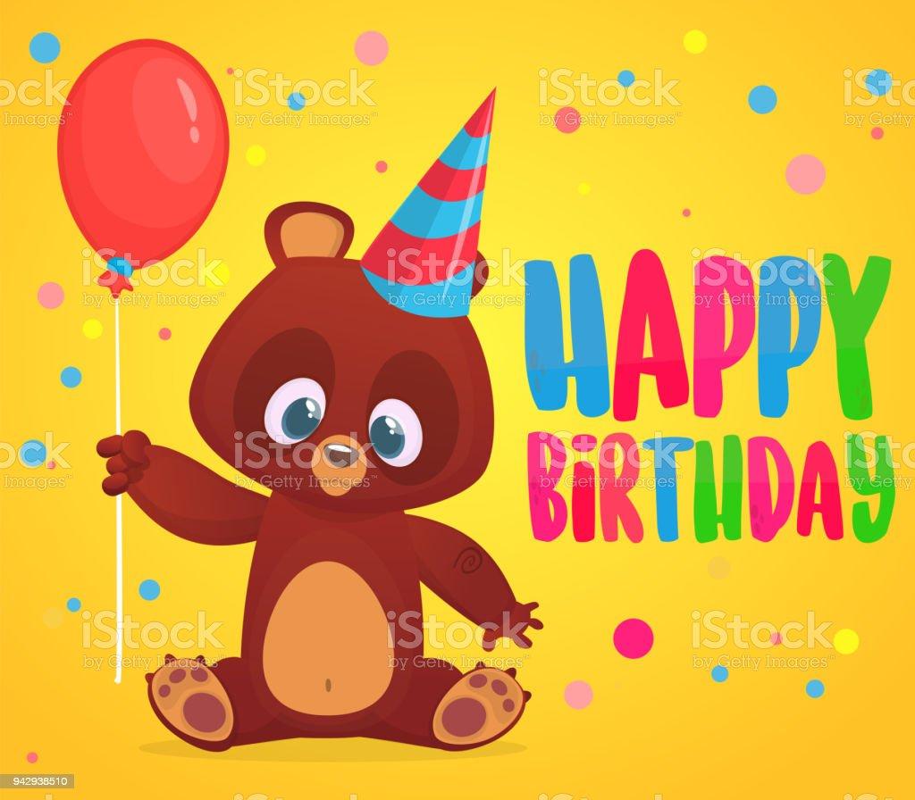 Cartoon Bear Holding A Red Balloon Happy Birthday Greetings Postcard