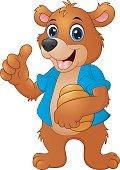 Cartoon bear holding honeycomb