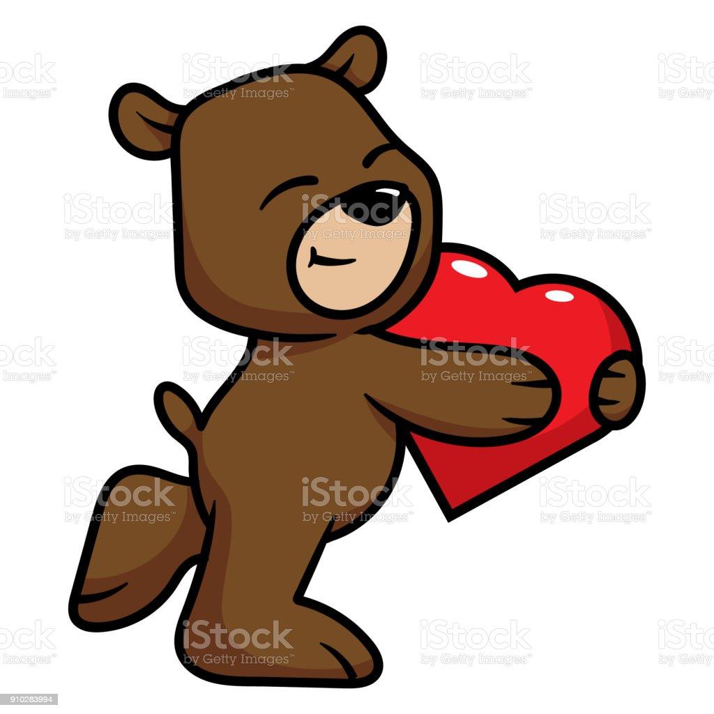 Vetores De Desenhos Animados Urso Abracando Um Coracao E Mais Imagens De Abracar Istock