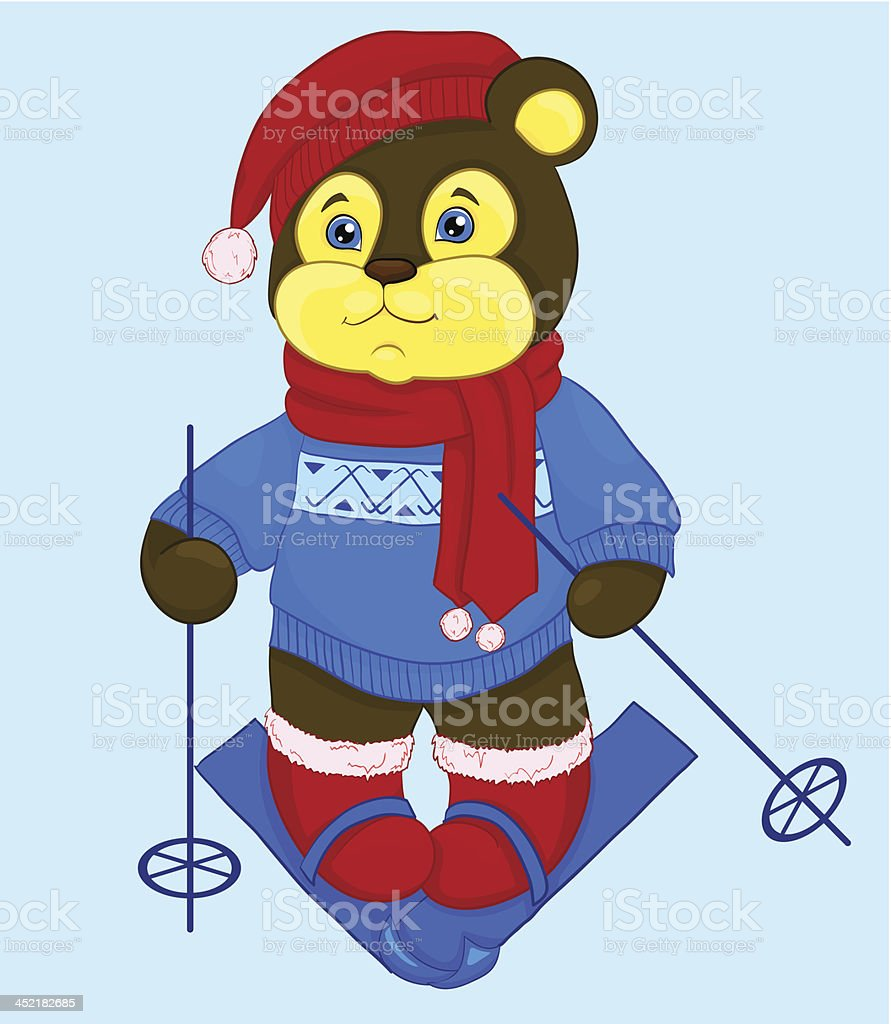 cartoon bear in a skiing royalty-free stock vector art