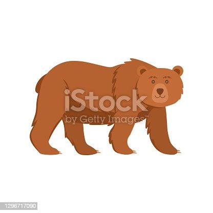 istock Cartoon bear on a white background.Flat cartoon illustration for kids. 1296717090