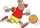 Cartoon bear playing basketball.