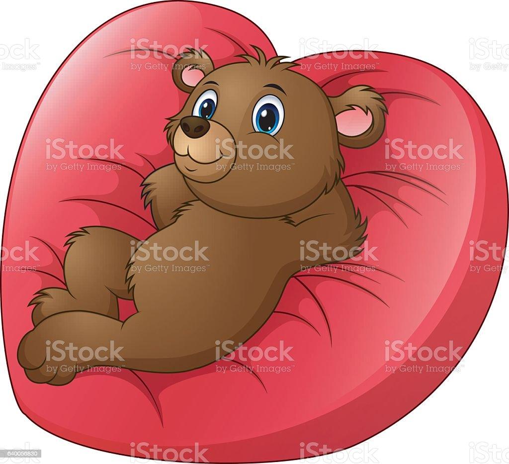 Cartoon bear relax on heart shaped bed vector art illustration