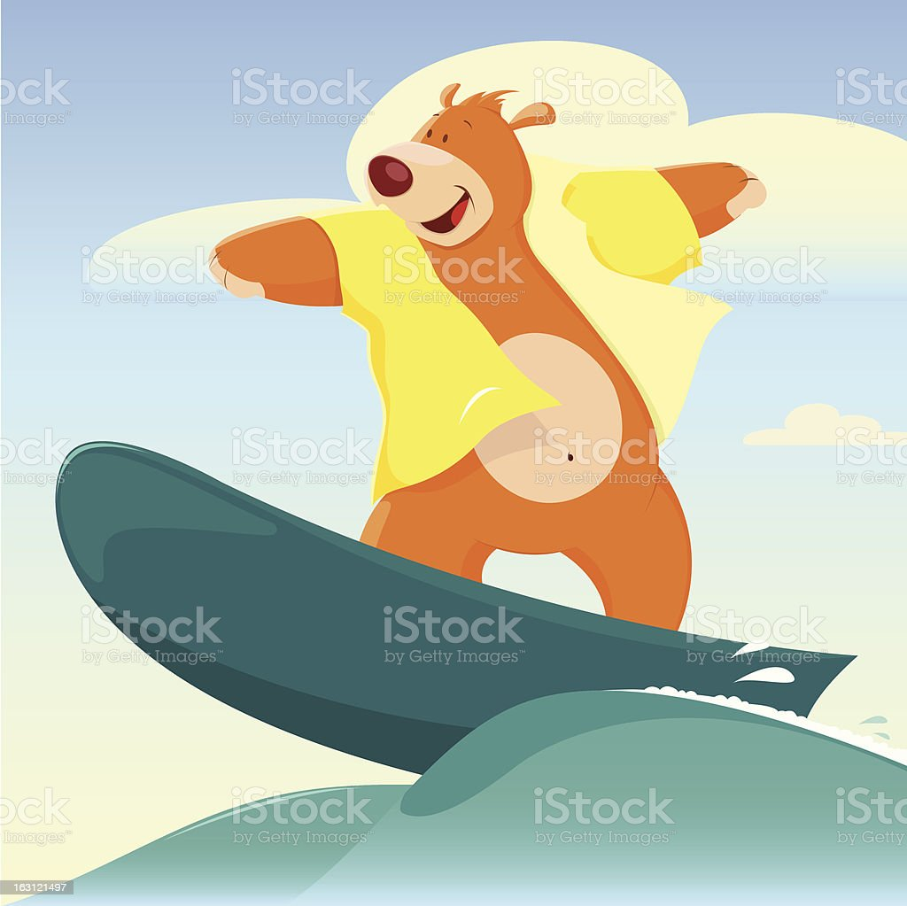 Cartoon Bear Surfer royalty-free cartoon bear surfer stock vector art & more images of activity