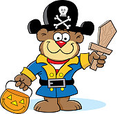 Cartoon bear trick or treating dressed as a pirate.