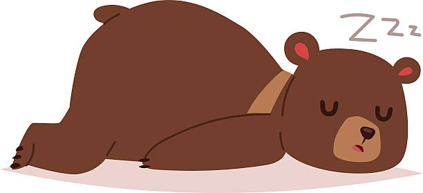 Cartoon bear vector haracter Cute cartoon bear emotions icon. Brown character happy smiling bear sleep drawing mammal teddy smile. Cheerful mascot cartoon bear grizzly, young, baby animal zoo stuffed stock illustrations