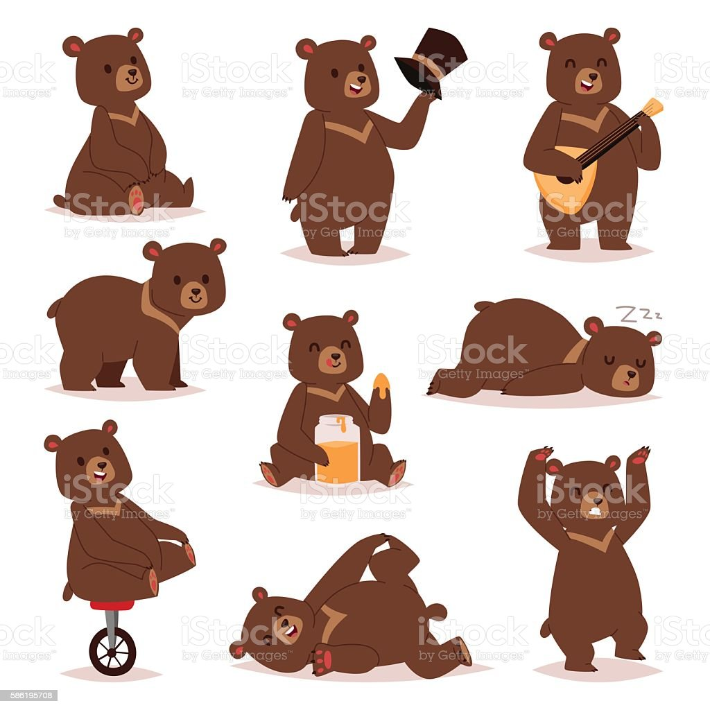 Cartoon bear vector set. - ilustración de arte vectorial