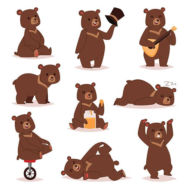 ilustrações, clipart, desenhos animados e ícones de cartoon bear vector set. - urso