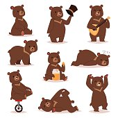 Cartoon bear vector set.