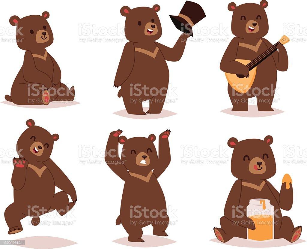 Cartoon bear vector set. vector art illustration
