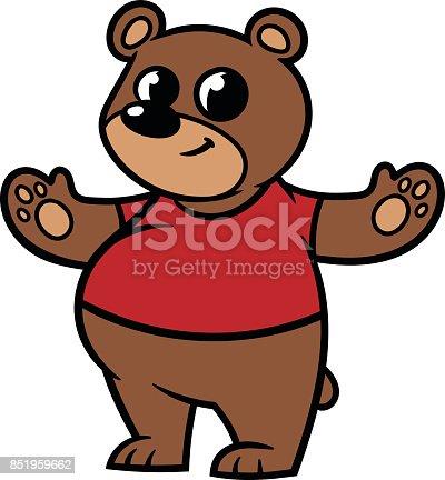 Cartoon Bear Wearing a T-Shirt