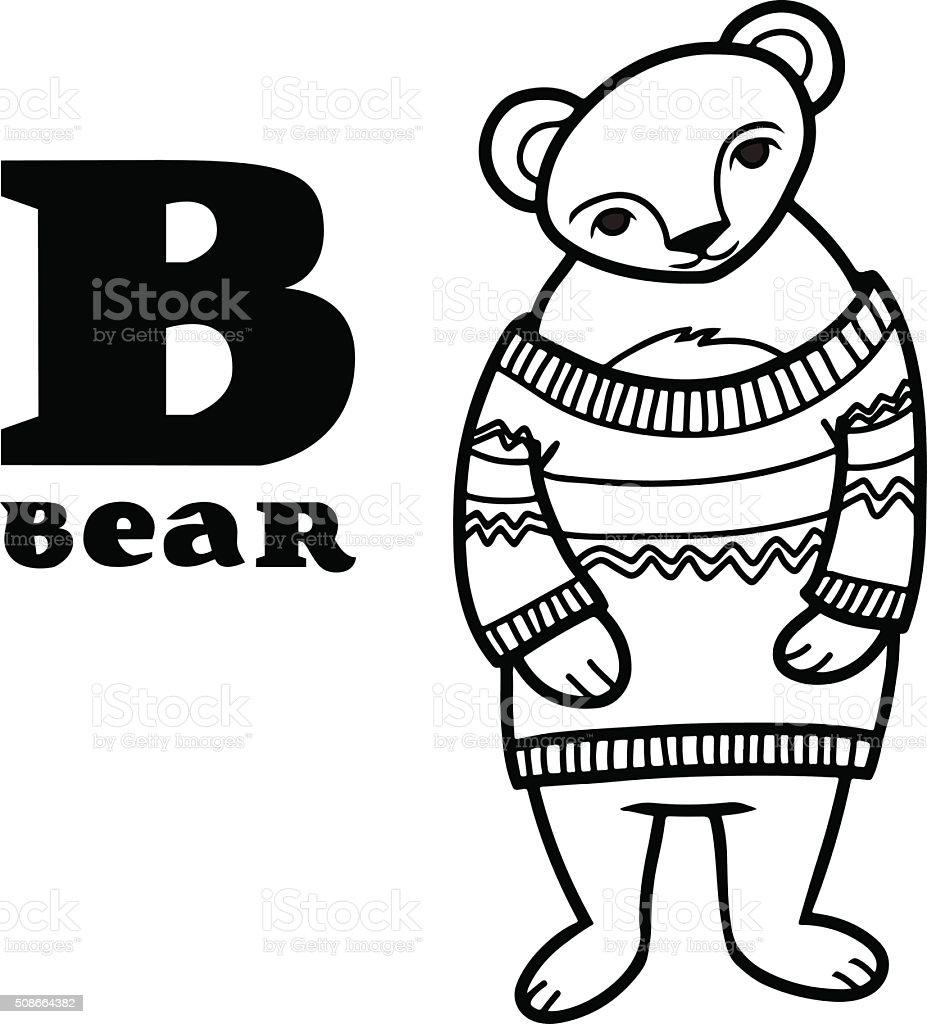 ilustração de urso de desenho animado usando pulôver letra b e mais