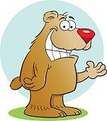 Cartoon bear with a background.