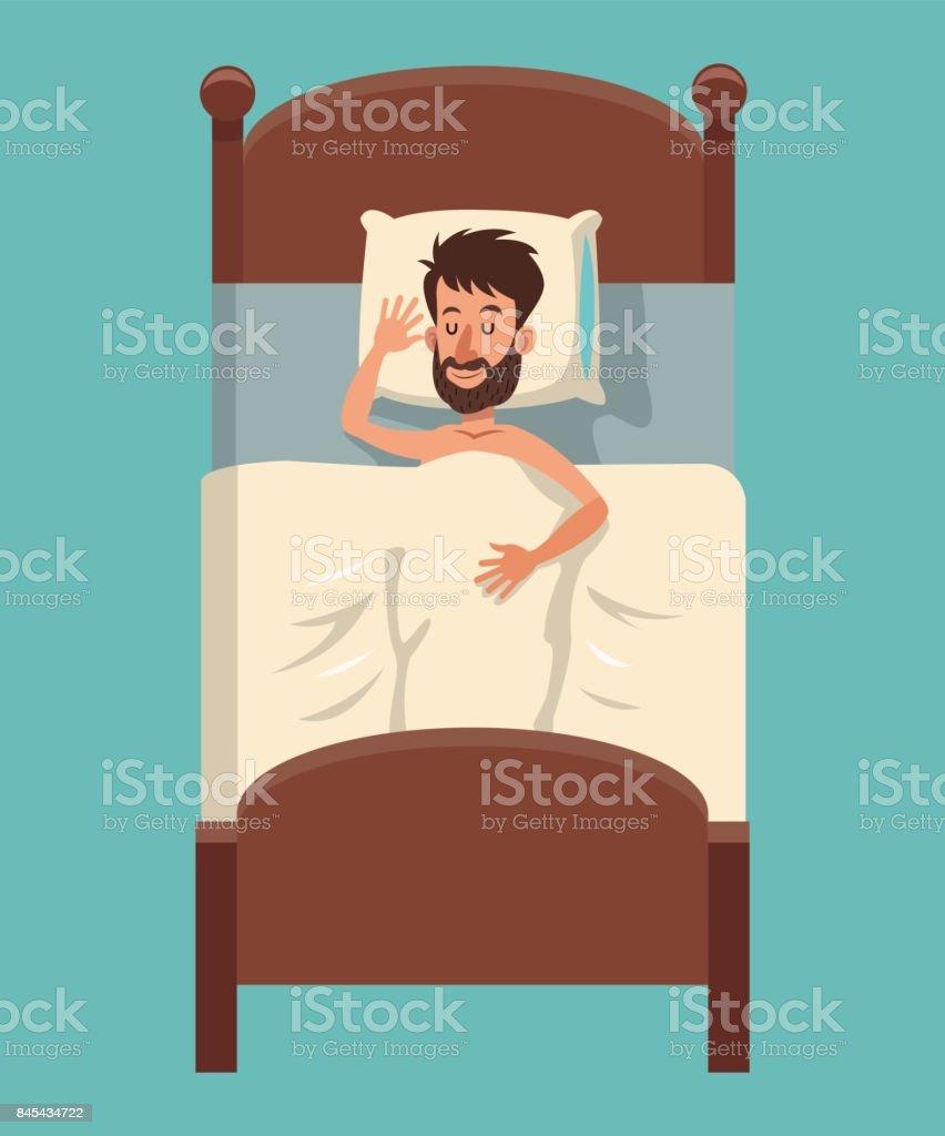 Cartoon Bart Mann Schlafen Bedeckt Decke Im Bett Stock Vektor Art