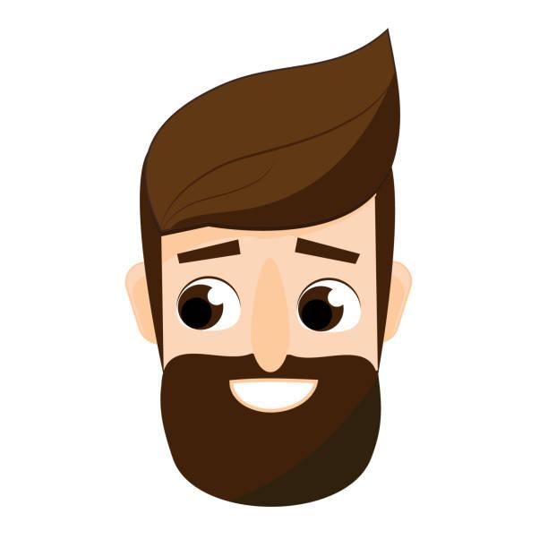 ilustrações, clipart, desenhos animados e ícones de desenhos animados cara barbudo. avatar masculino hipster amigável - moda urbana