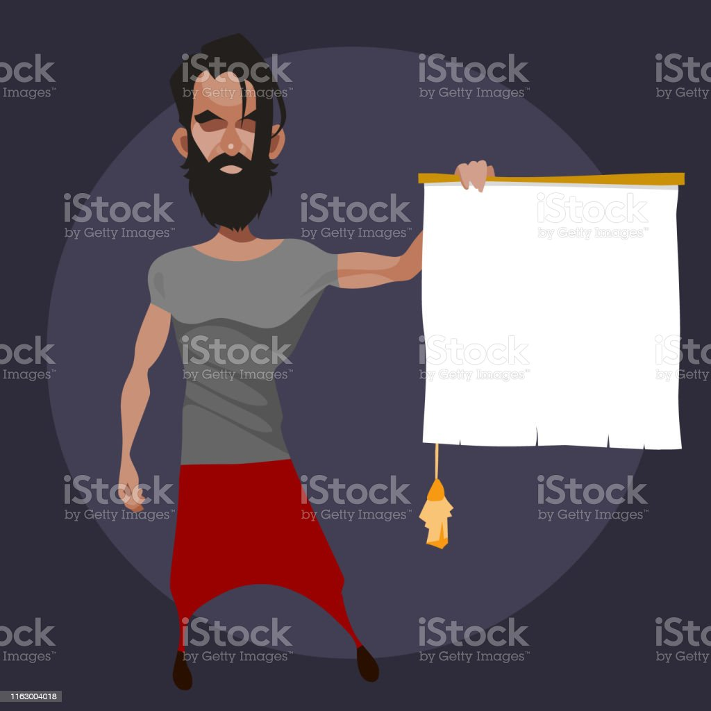 cartoon bearded man holds in his hand an empty scroll with a tassel
