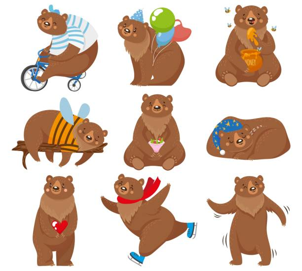 Cartoon bears. Happy bear, grizzly eats honey and brown bear character in funny poses isolated vector illustration Cartoon bears. Happy bear, grizzly eats honey and brown bear character in funny poses. Wildlife or circus skating mascot, zoo grizzly bears animal. Isolated vector illustration icons set bear stock illustrations