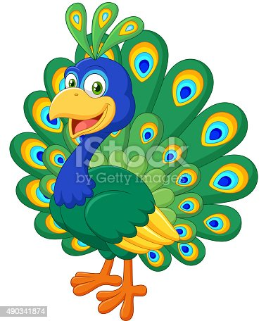 istock Cartoon beautiful peacock isolated on white background 490341874