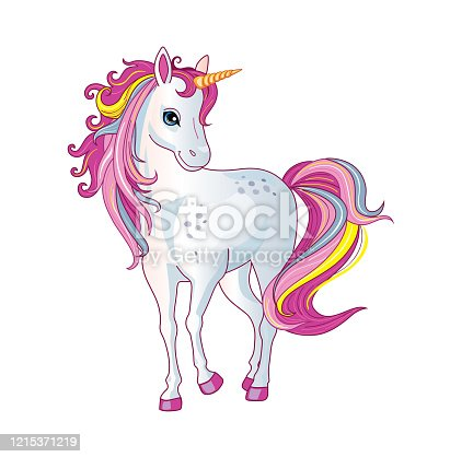 istock Cartoon beautiful unicorn with rainbow mane on white background. Children's illustration suitable for print and sticker. Isolated image with magic horse or pony. Fairytale animal. Wonderland. Vector. 1215371219