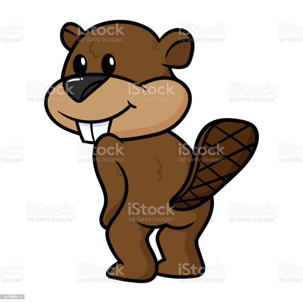 Cartoon Beaver Character vector art illustration