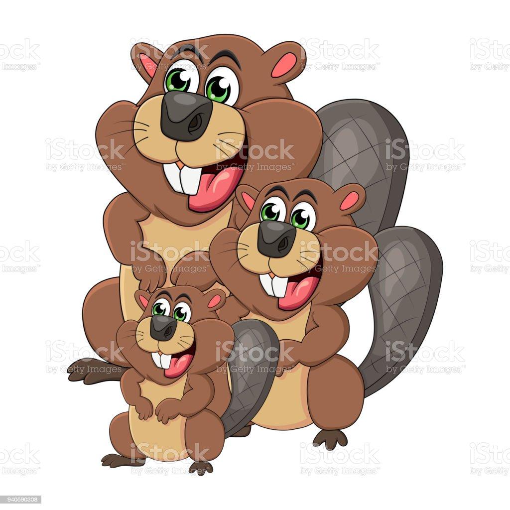 Cartoon Beaver Family Isolated On White Background Stock Vector Art ...