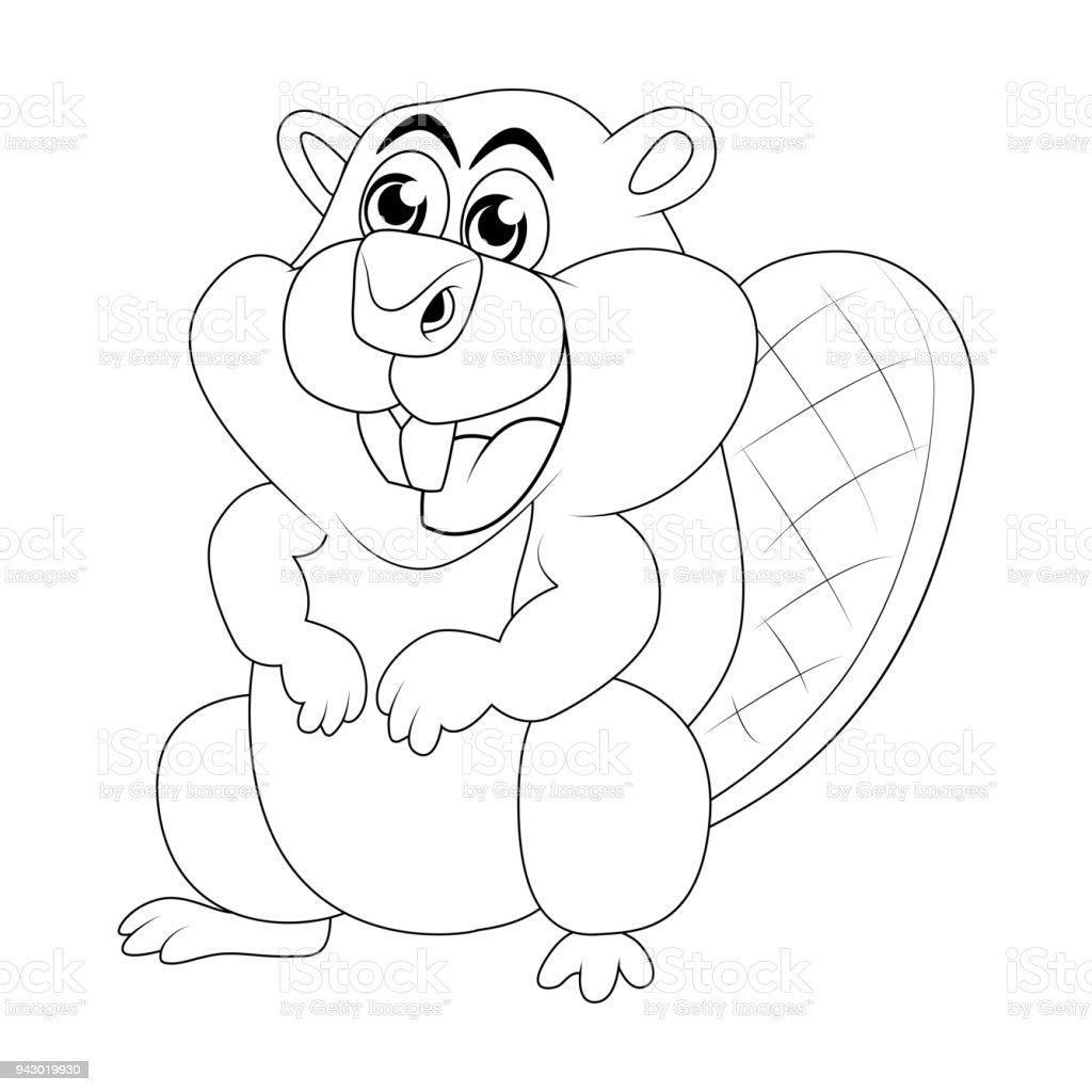 Cartoon Beaver Outline Isolated On White Background Stock Vector Art ...