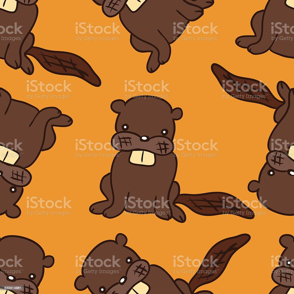 Cartoon Beaver Seamless Pattern Stock Vector Art & More Images of ...